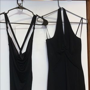 NWOT black asymmetrical dresses x2
